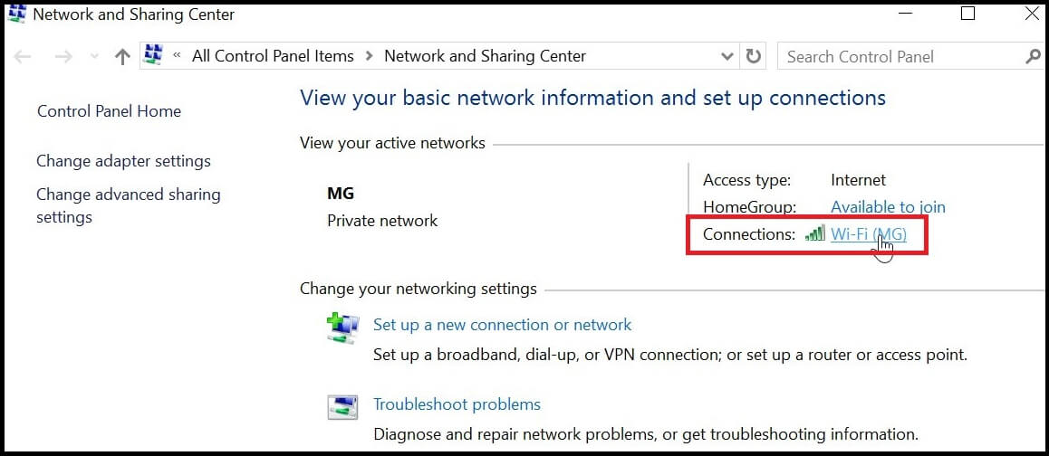 Win 10 Network and Sharing center