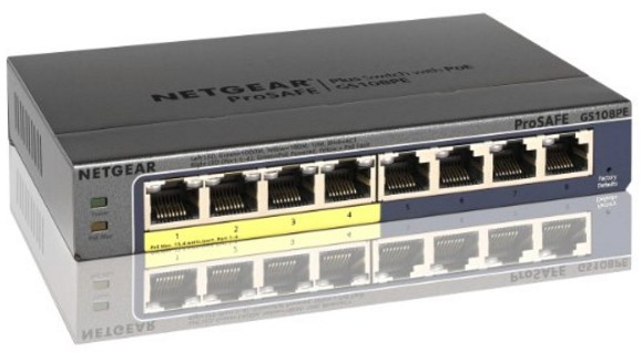Netgear Prosafe GS108PE 8 Port Gigabit PoE Web Managed Switch