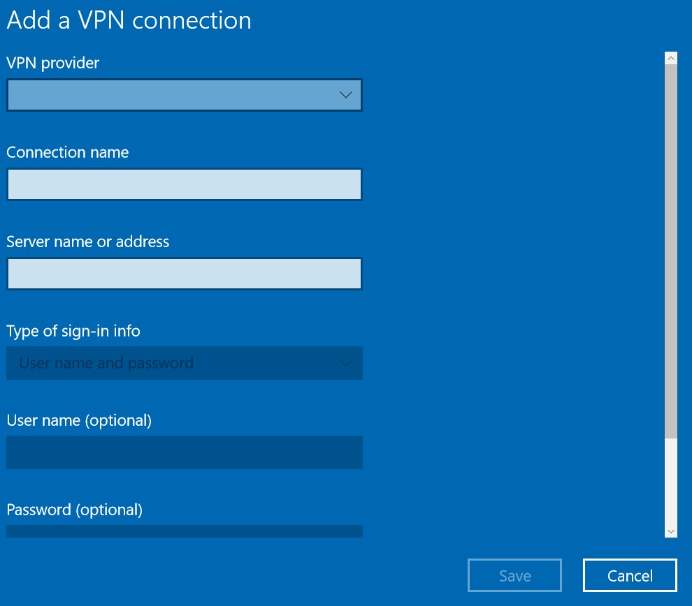 VPN in Windows 10