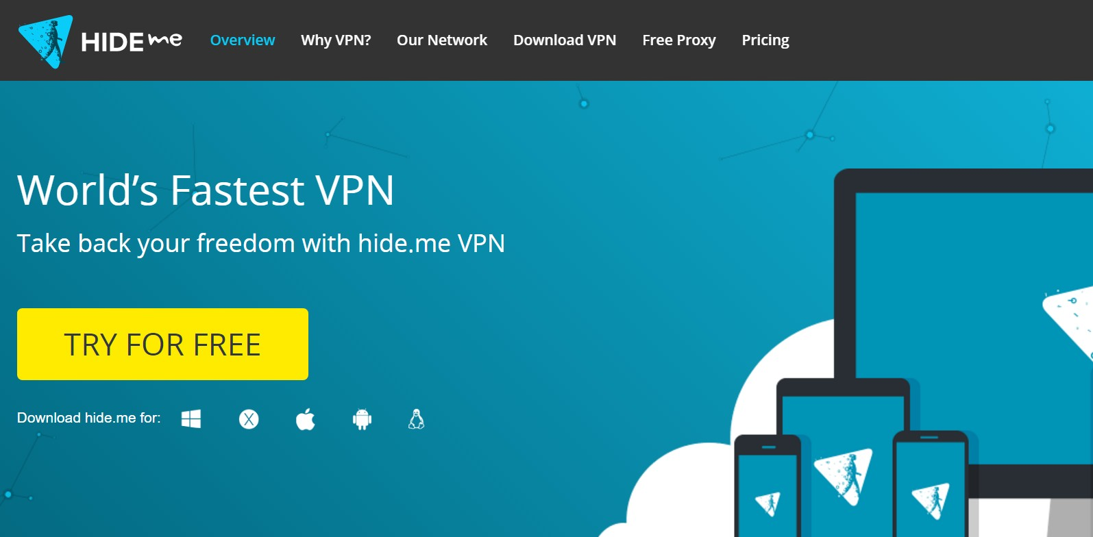 Hide.me home page - Best VPN no logs
