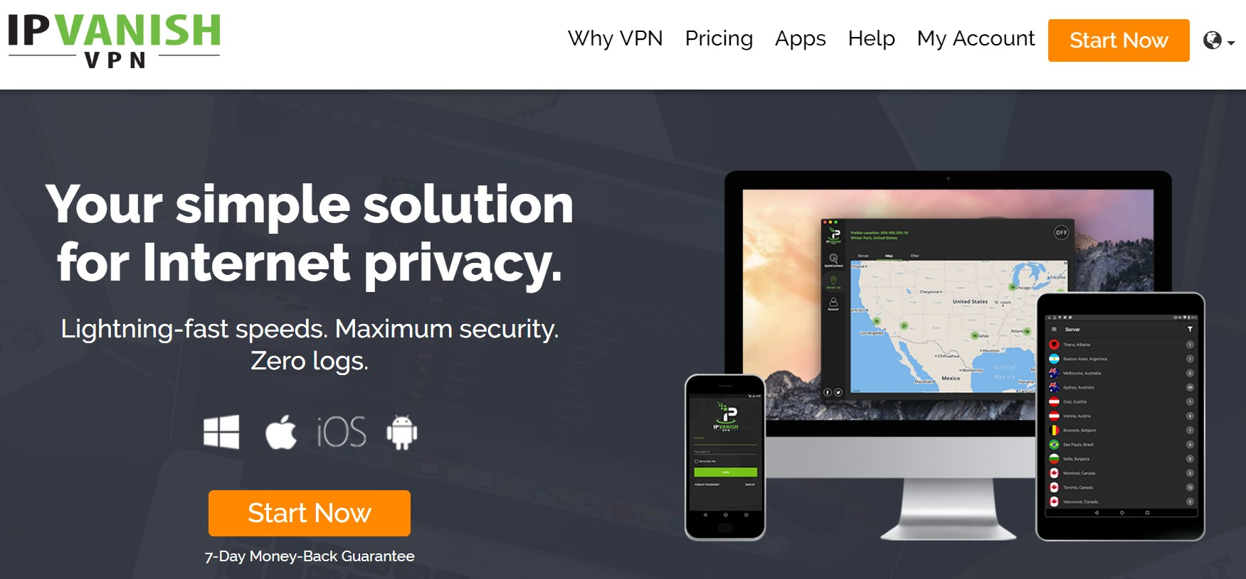 IP Vanish VPN Home Page - Best VPN no logs