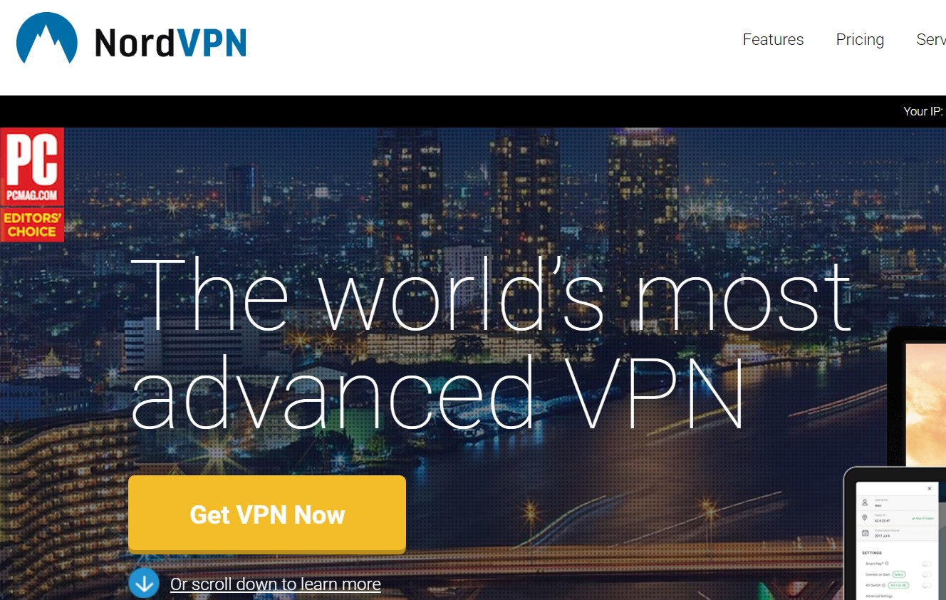 NordVPN Home Page - Best VPN no logs
