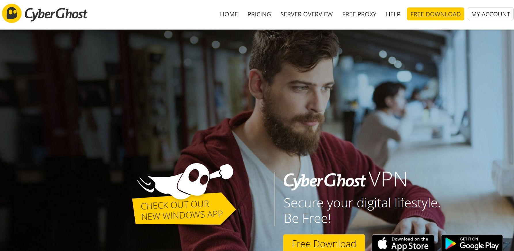 Cyberghost VPN Home Page
